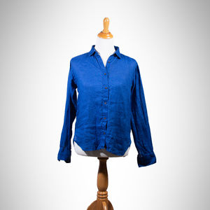 100% Linen Deep Blue Long Sleeve Shirt